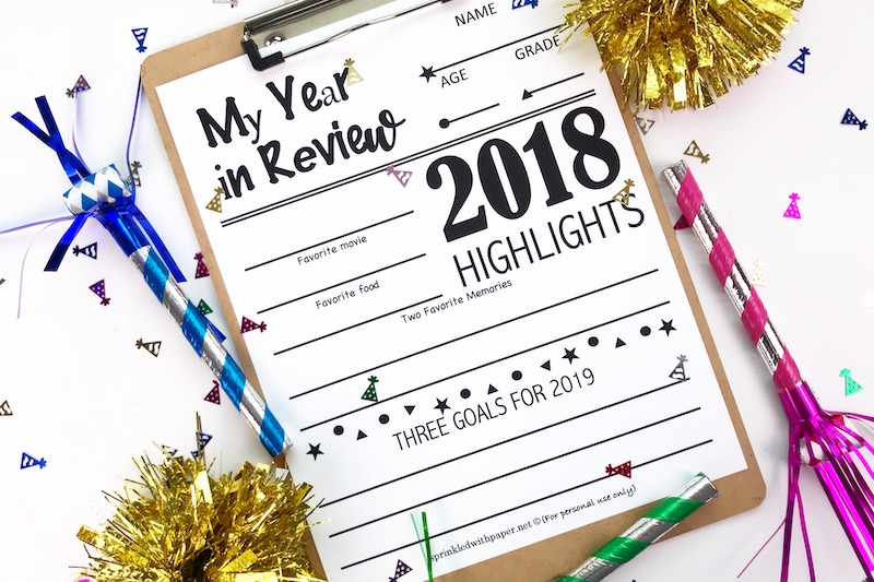 New Year's Eve Year In Review Printable